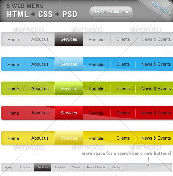 HTML + CSS + PSD menu set x 5 colors! V1 - Web Elements