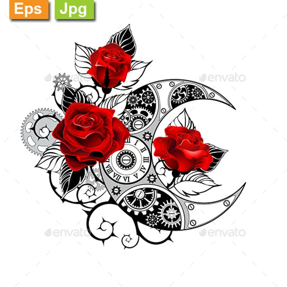 Mechanical Crescent with Red Roses