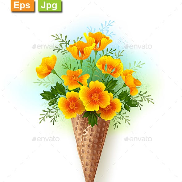 Waffle Cone with California Poppy