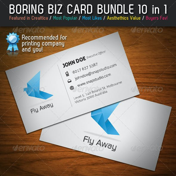 Boring Business Card Bundle 10 in 1