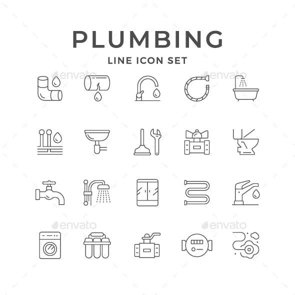 Set Line Icons of Plumbing