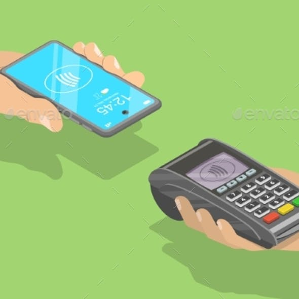 3D Isometric Flat Vector Concept of Contactless