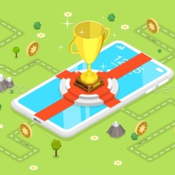 3D Isometric Flat Vector Concept of Mobile Gaming.