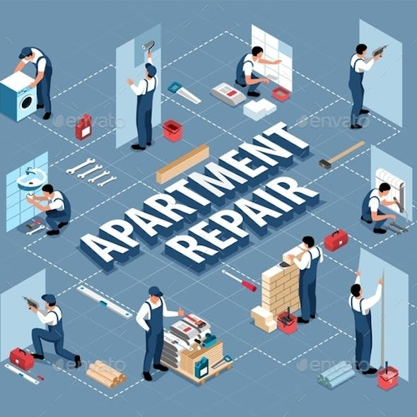 Repair Apartment Isometric Flowchart