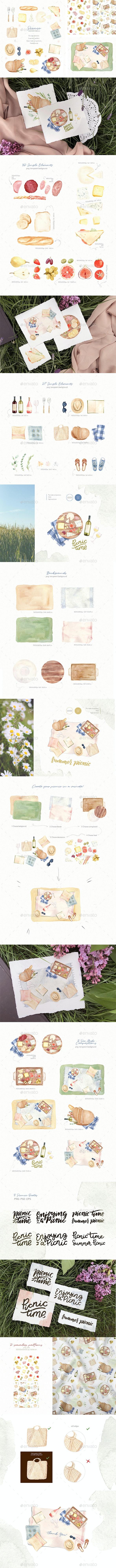 Picnic Time - Watercolor Illustration Set - Nature Backgrounds
