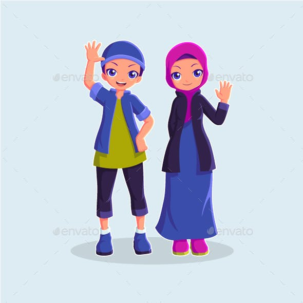 Muslim Kids Cartoon Character Vector