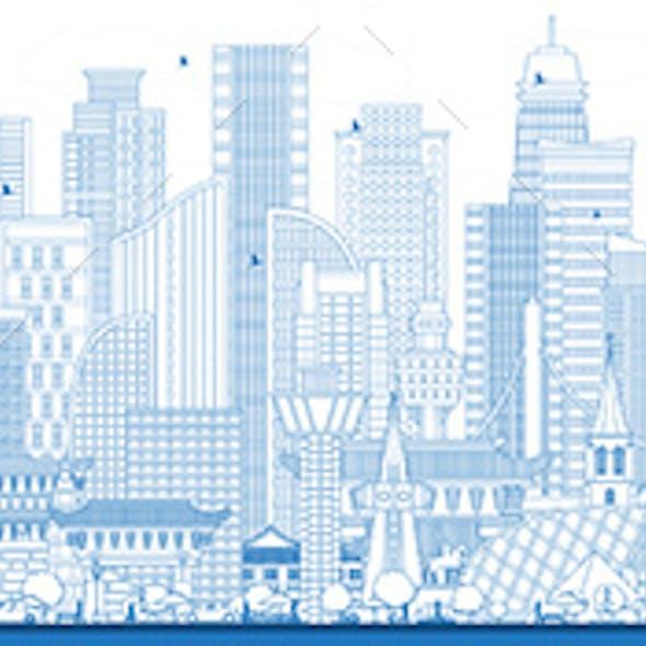 Outline South Korea City Skyline with Blue Buildings.