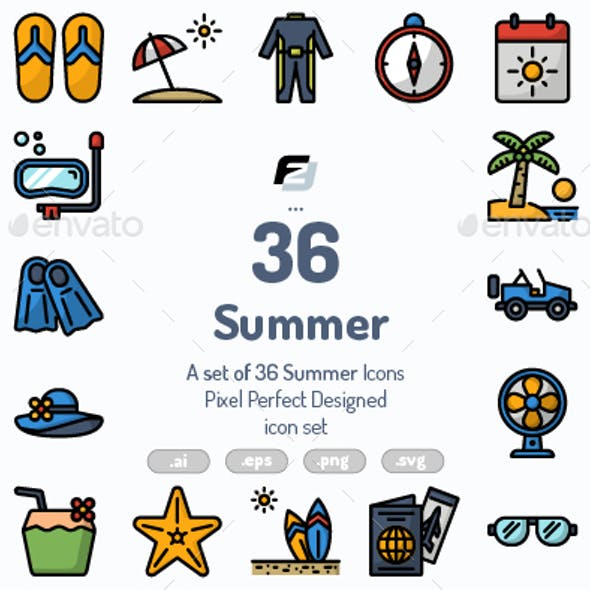 36 Summer icons