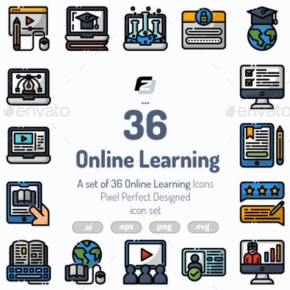 36 Online Learning icons