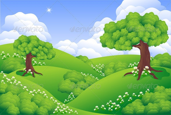 Landscape Green Hills with trees,  flowers,  cloud - Landscapes Nature