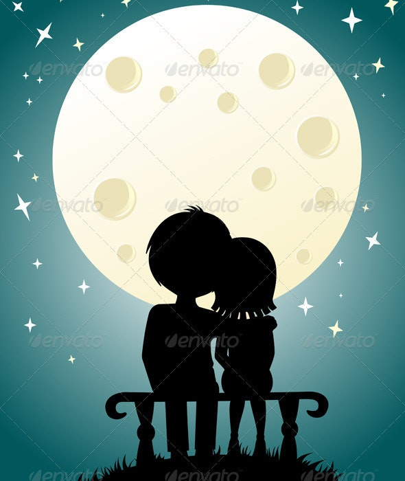 Couple under the moonlight - People Characters