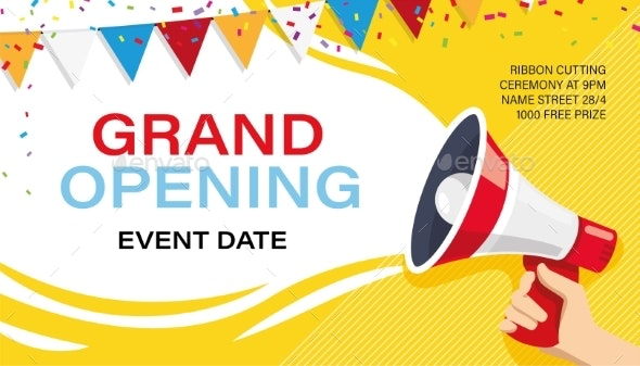Grand Opening Banner Template Advertising Design By Studioworkstock