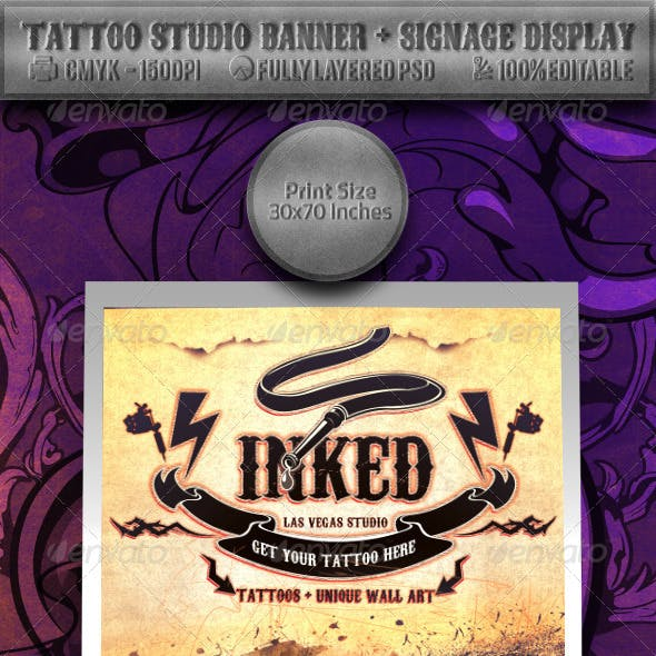 Tattoo Studio Banner & Signage Display