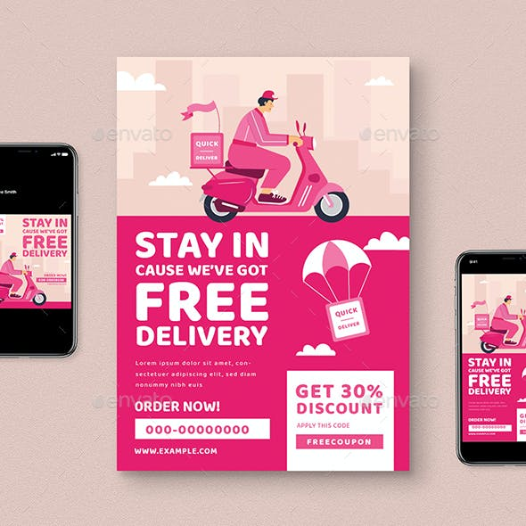 Food Delivery Flyer Graphics Designs Templates