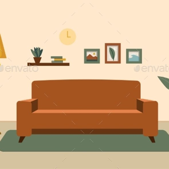 Cozy Living Room Interior with Furniture, Shelves