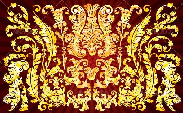 Elegant Victorian Floral Design - Flourishes / Swirls Decorative