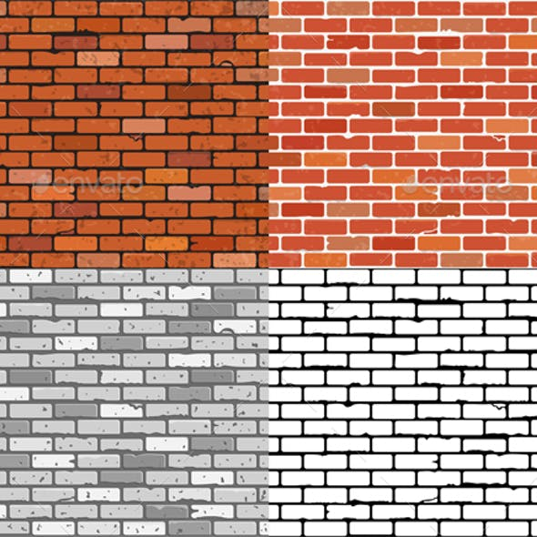 Set Seamless Brick Wall Textures