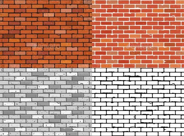 Set Seamless Brick Wall Textures - Patterns Decorative