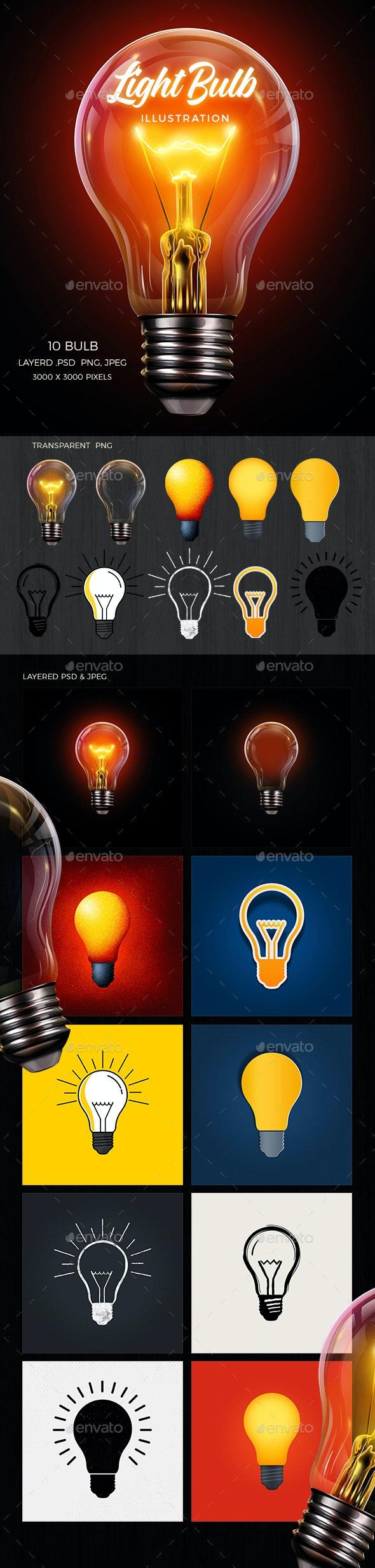Light Bulb Illustration Set - Objects Illustrations