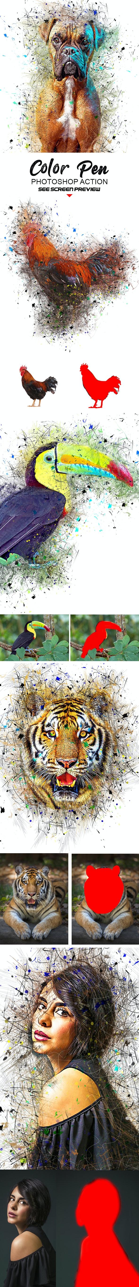 Color Pen Photoshop Action - Actions Photoshop