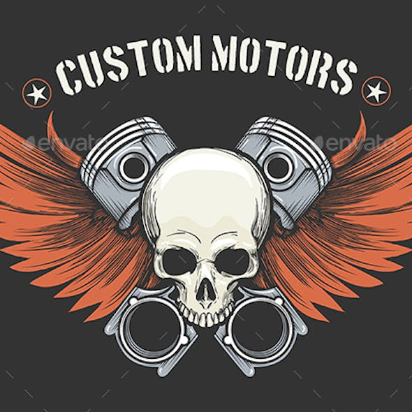 Human Skull with Pistons and Wings Emblem
