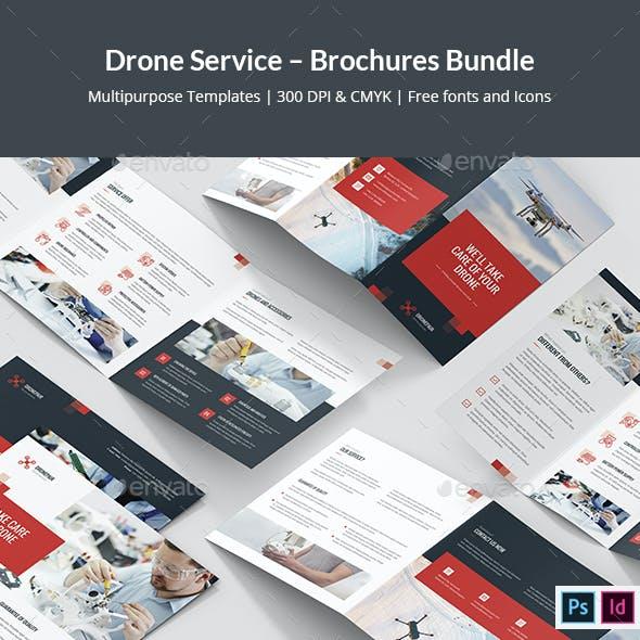 Drone Service – Brochures Bundle Print Templates 7 in 1