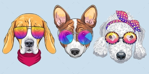 Vector Set 3 Of Cartoon Dogs By Kavalenkava Graphicriver