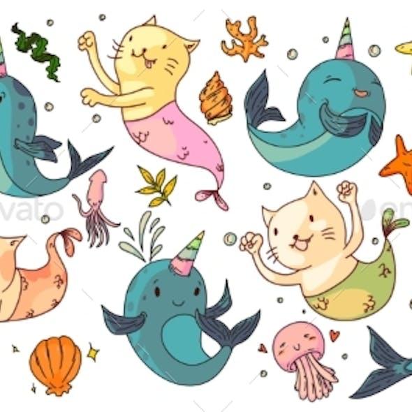 Mermaid Cats and Unicorn Narwhals
