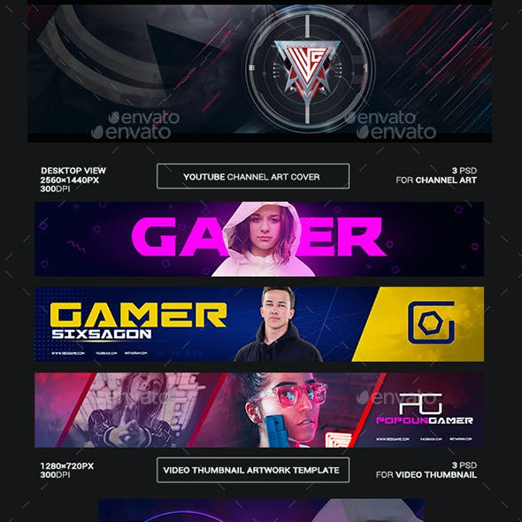 Gamer Youtube Channel Art/Video Thumbnail and Ending Video Template