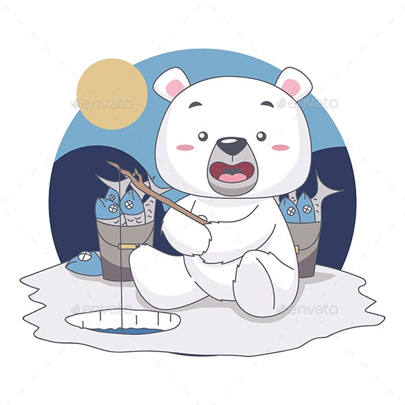 Snow Bear Fishing