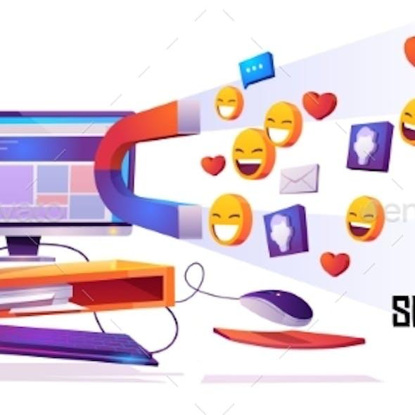 Social Media Marketing Banner Magnet Attract Likes