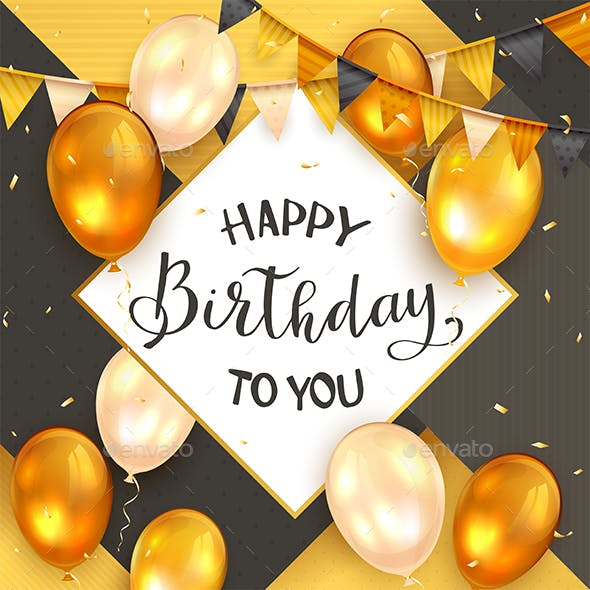 Happy Birthday on Black and Gold Background with Golden Balloons and Pennants