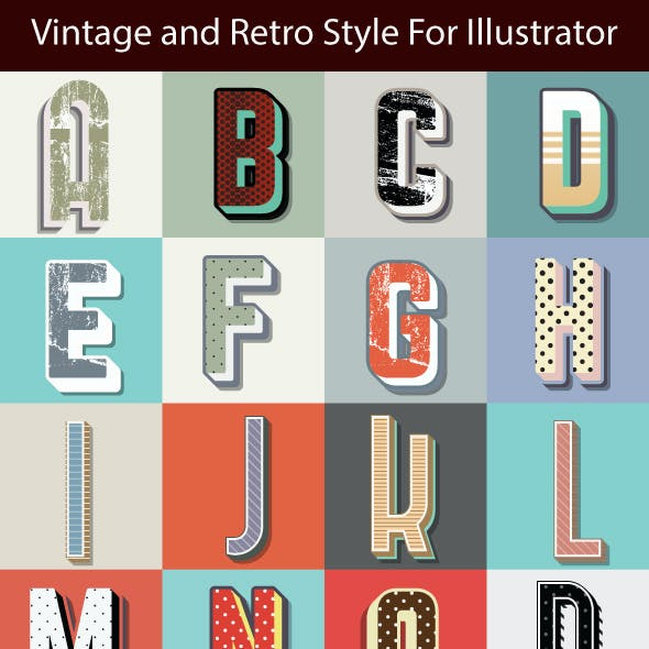 50 Different Vintage  Graphic Styles for Adobe Illustrator