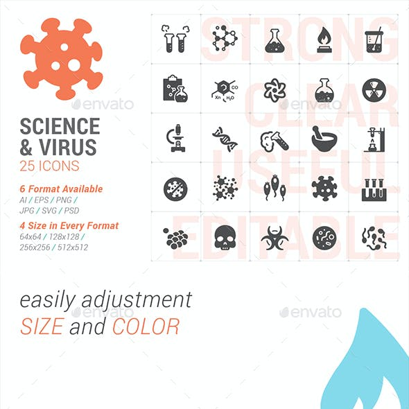 Science & Virus filled icon set