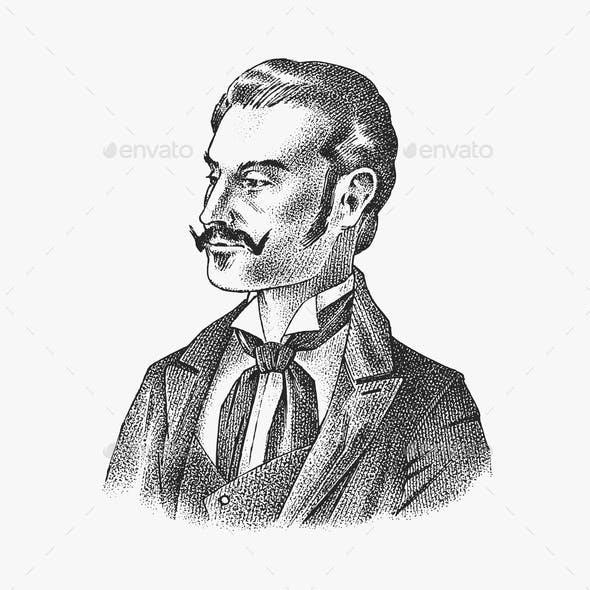 Victorian Gentlemen Elegant Antique Man