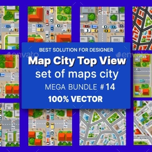 Map City Top View Set Architecture Design