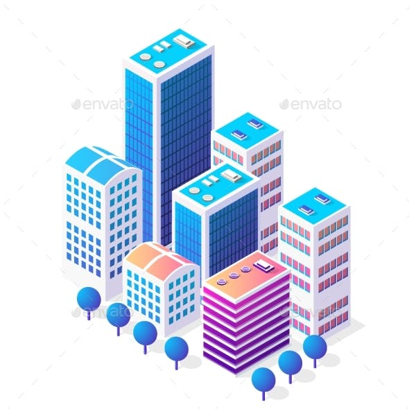 Isometric 3D Icon City Urban Area with a Lot of