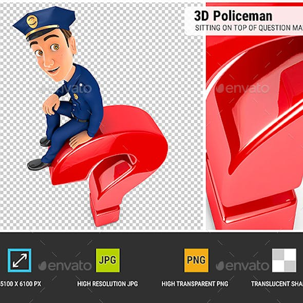3D Policeman Sitting on Top of Question Mark