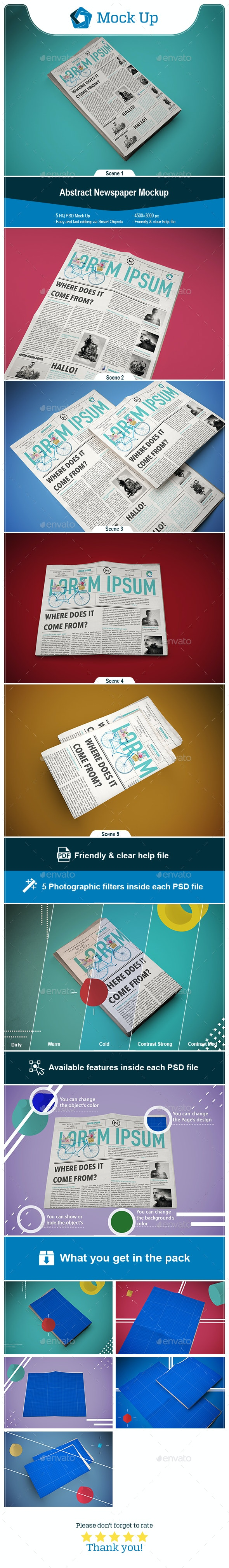 Abstract Newspaper MockUp - Miscellaneous Print