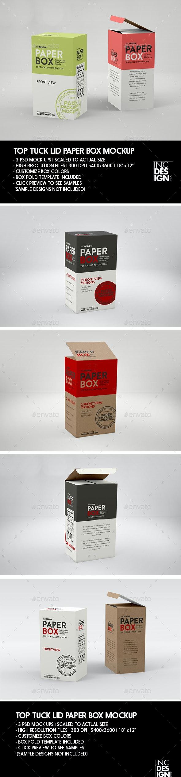 Paper Top Lid Tuck Box Packaging Mockup - Packaging Product Mock-Ups
