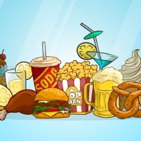 Cartoon Colorful Fast Food and Drinks