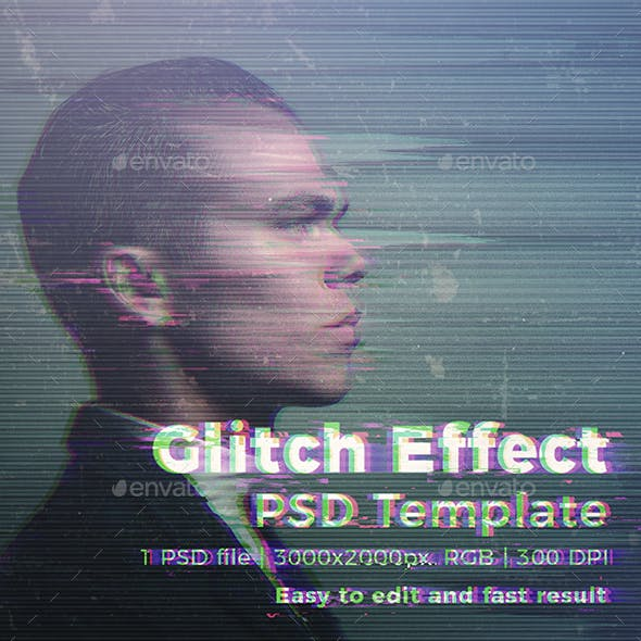 Glitch Effect Photoshop Photo Template