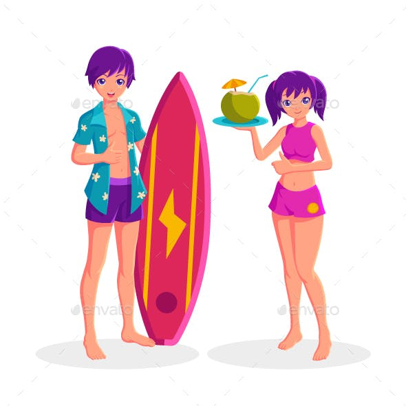 Boy Holding Surfboard and Girl Holding Coconut Cocktail Summer Vacation