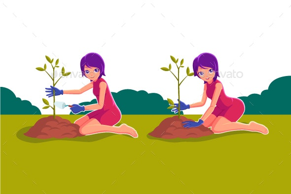 Girl Planting A Tree Cartoon Character Vector By Vectorystock Graphicriver Cartoon tree transparent images (6,688). https graphicriver net item girl planting a tree cartoon character vector 27044157