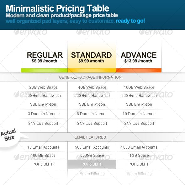Minimalistic Price Table