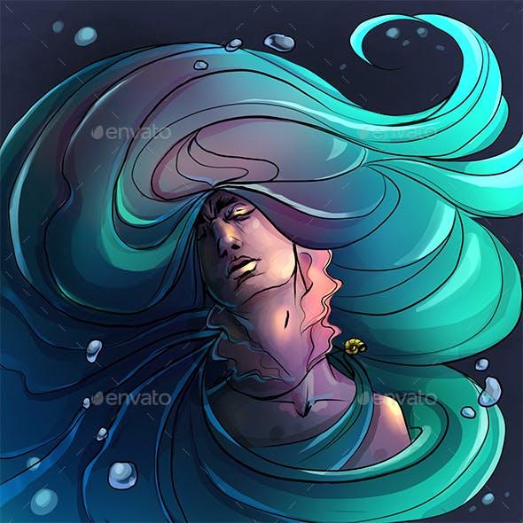Mermaid girl portrait art