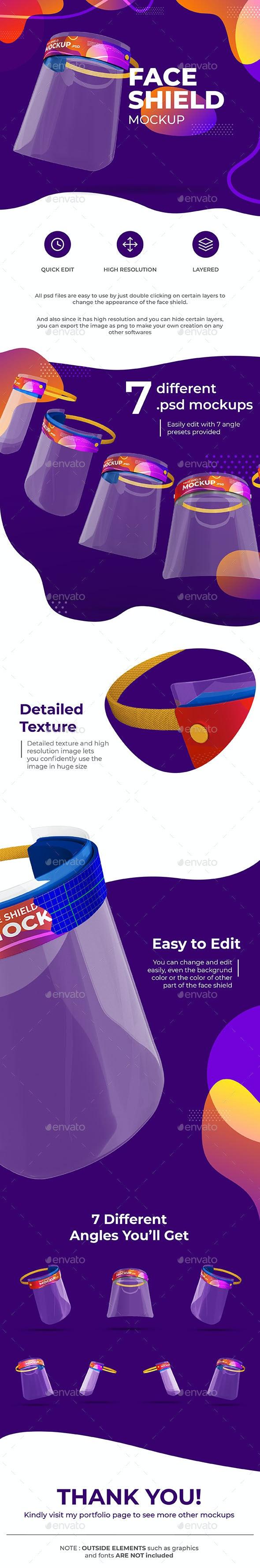 Face Shield Mockup - Product Mock-Ups Graphics