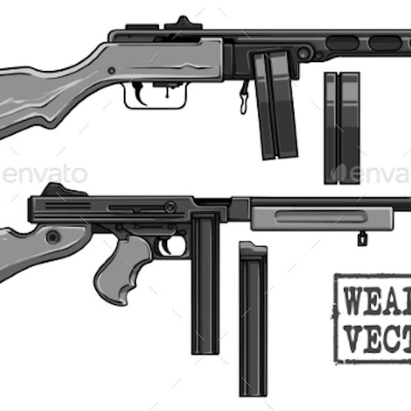 Graphic Retro Submachine Gun with Ammo Clip