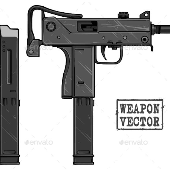 Graphic Silhouette Uzi Submachine Gun with Ammo