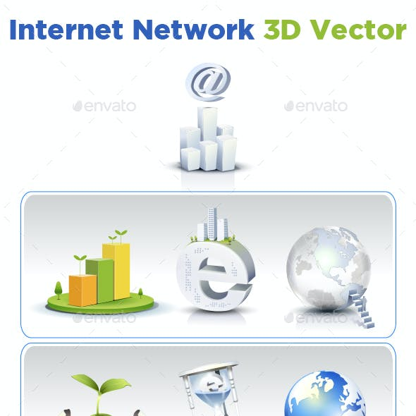 Internet Network 3D Vector - Icons